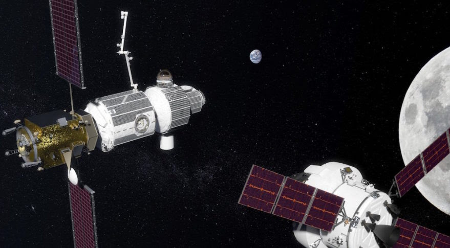 "An illustration of NASA's proposed ""deep-space gateway"" in orbit around the moon. Japan plans to make use of gateway as a jumping-off point for future lunar expeditions.  Credit: NASA"