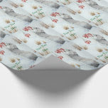 Cute mouse and red berries snow scene wildlife art wrapping paper