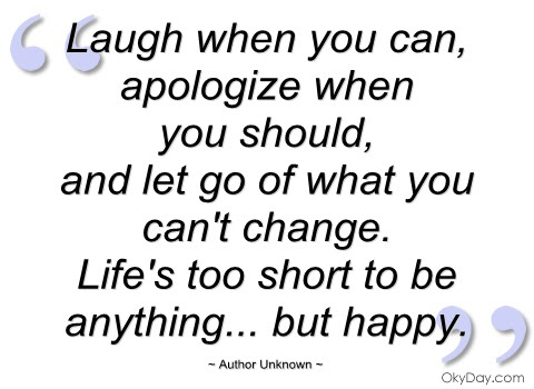 Laugh When You Can Apologize When You Should And Let Go Of What