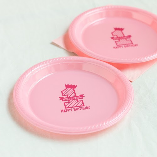 Personalized 1st Birthday Plastic Plates