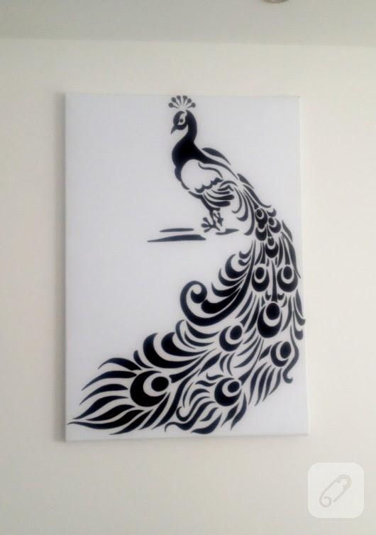 Kumaş Boyasıyla Tavus Kuşu Tablo 10marifetorg