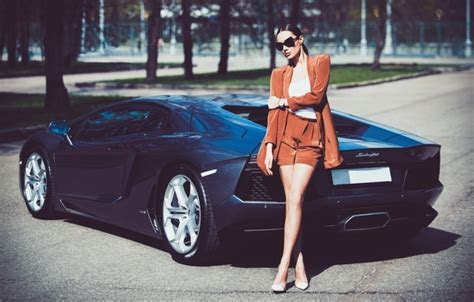???? View, Lamborghini, Legs, Hair, Julia Adasheva, LP700 4, Aventador, Model, Rear, Girl