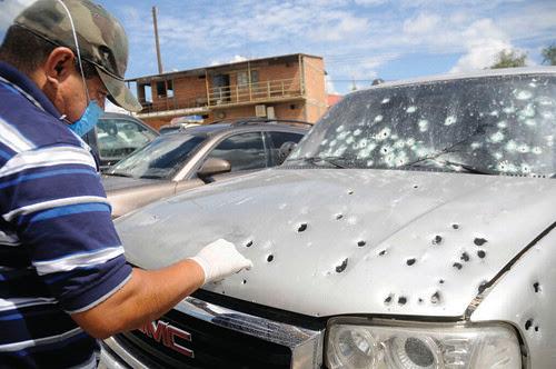 Bullet Riddled car