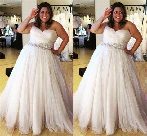 Gorgeous 2016 Plus Size Wedding Dresses Sweetheart Pleat