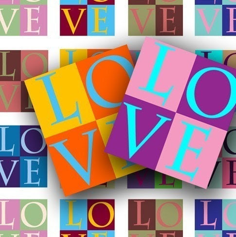 LOVE 0.75 X 0.85 inch for scrabble tiles, pendants and more - DigitalPerfection digital collage sheet 503