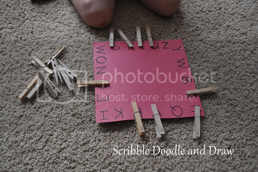 Match letters by using clothespins