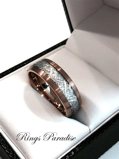 Brushed Meteorite Inlay Ring, Engagement Rings, His And