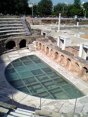 Ancient Agora (place of assembly) of Thessaloniki. A modern glass floor has been installed to show excavations under the amphitheatre.