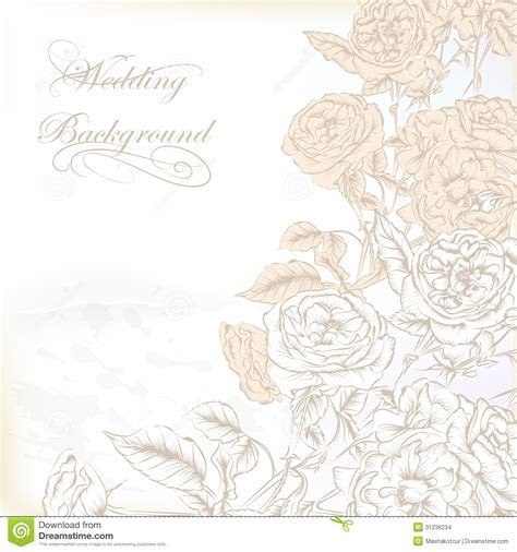 Elegant Wedding Background With Hand Drawn Roses For