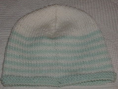 stripes in green and white hat