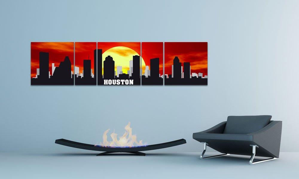 Amazon.com: XXL WALLART USA Panorama CITY SKYLINE Houston SUNRISE ...