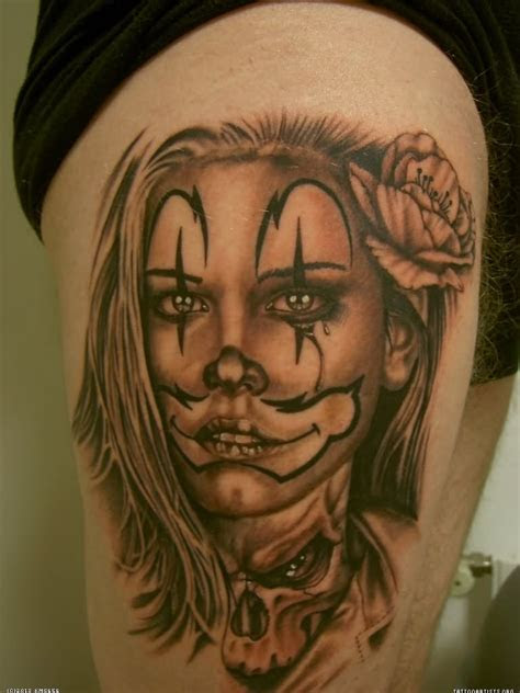 gangster clown girl tattoo images designs