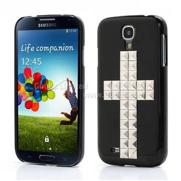 Silver Pyramid Cross Hard Case for Samsung Galaxy S4 i9500 i9502 i9505 - Black