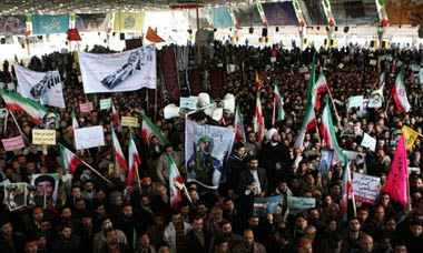 People at the funeral of Sanee Zhaleh, a student who was shot dead in Tehran, Iran