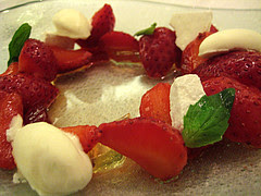 Strawberries with White Balsamic Jelly & Marscapone Sorbet