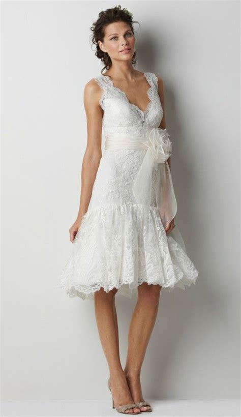 Feminine Knee length Lace Wedding Dress for Older Brides