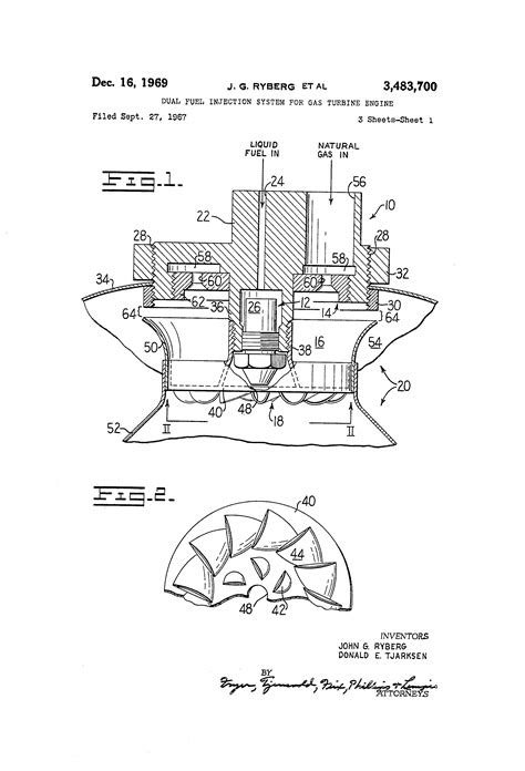 Patent US3483700 - Dual fuel injection system for gas