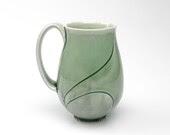 Tall Large Green Lotus Mug 18 Ounce Emerald Green - CampanaCeramics