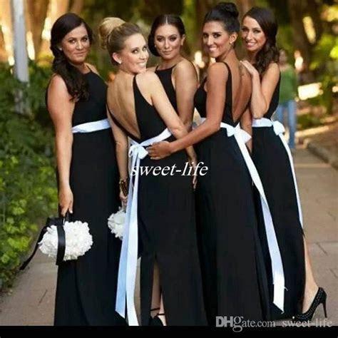 Elegant Black And White Bridesmaid Dresses Backless Sash