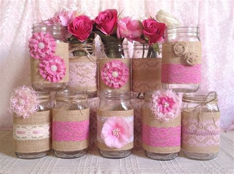 rustic burlap and pink lace covered mason jar vases