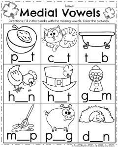 March Kindergarten Worksheets Medial Vowels 240x300