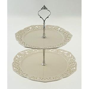 Vintage Cream Design 2 Tier Cake Stand / Display Holder