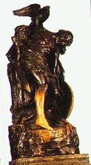 The statue of the fallen Cuchulainn at the GPO in Dublin