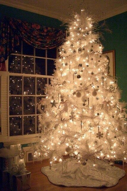 Gorgeous white Christmas tree .
