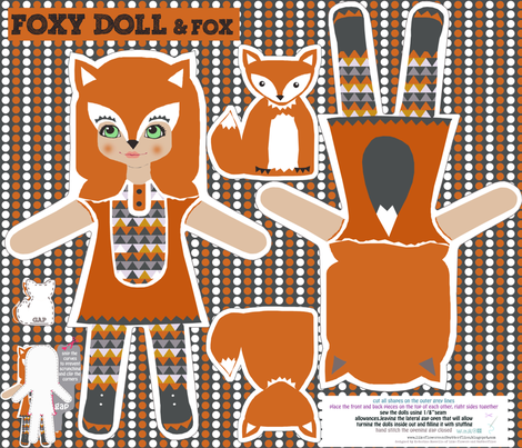foxy girl doll and little fox cut and sew pattern