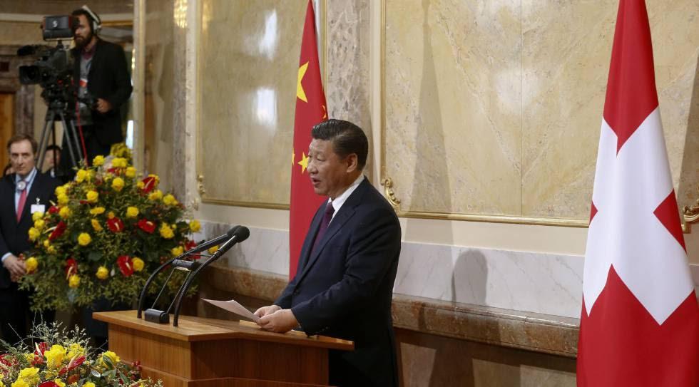 El presidente chino, Xi Jinping, en el Parlamento de Suiza, en Berna, este domingo.