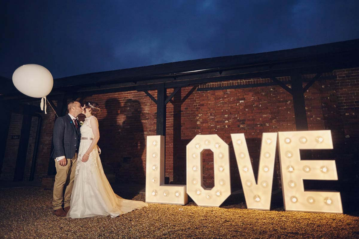 Love Sign at Copdock Hall Wedding Photos - www.helloromance.co.uk