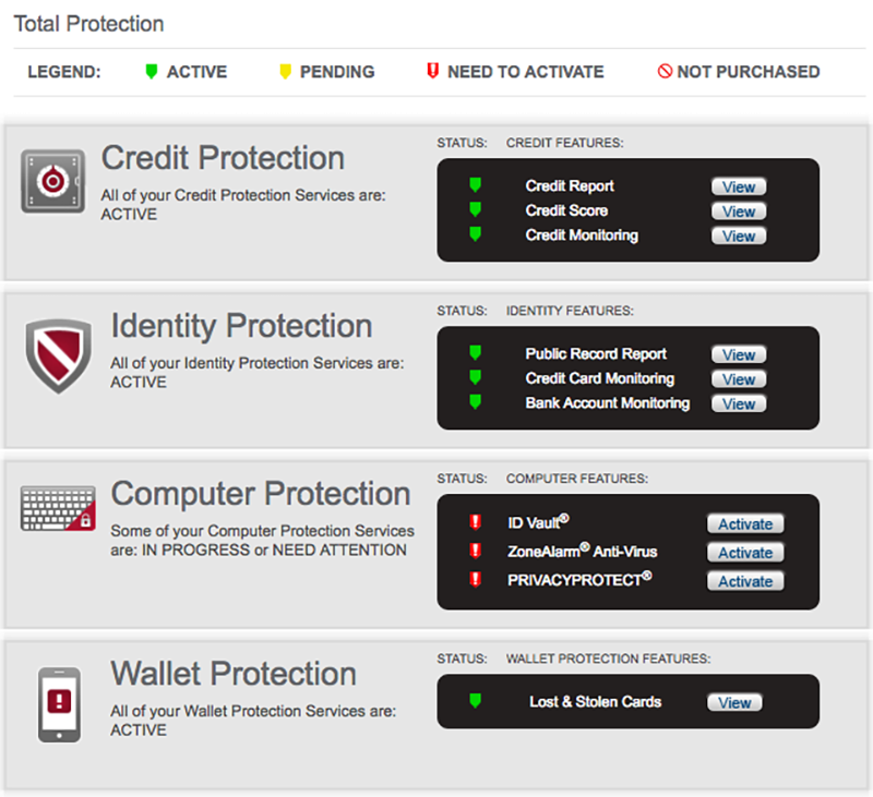 Screenshot of IdentityGuard dashboard