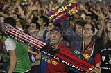 FC Barcelona fans and playesr celebrating Copa Del Rey Victory