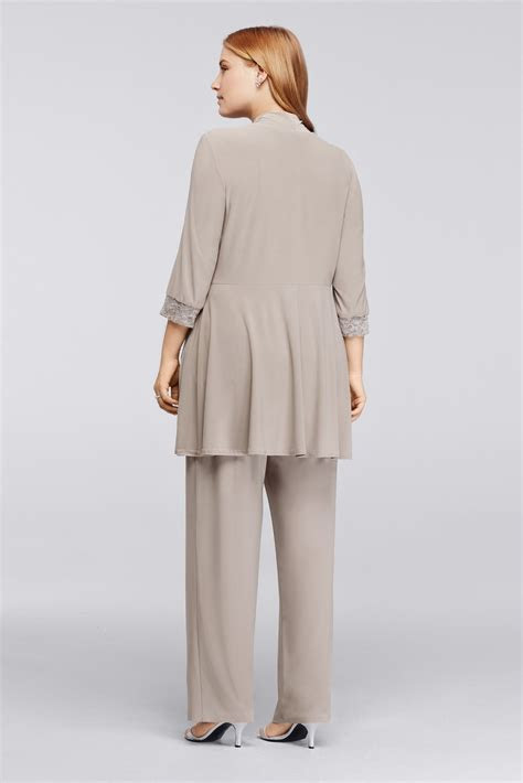 Mock Two Piece Lace and Jersey Pant Suit David's Bridal