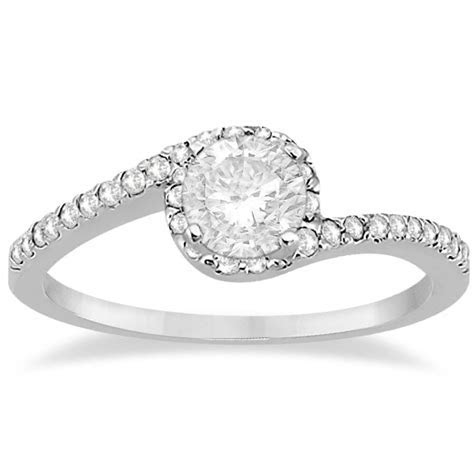 Halo Diamond Twist Engagement Ring Setting 14k White Gold
