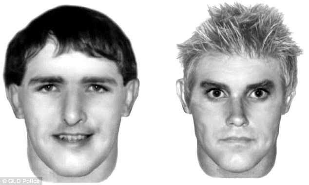 Police have released an artist's impression of the two offenders in the hope that someone will come forward with information and help solve the horrific crime