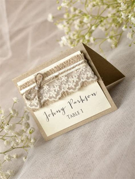 Rustic Place Cards (20), Lace Place Cards, Grey Wedding