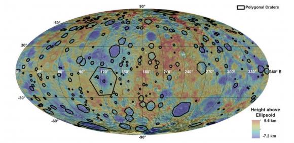 Distribución de cráteres poligonales en Ceres (K.A. Otto et al.).