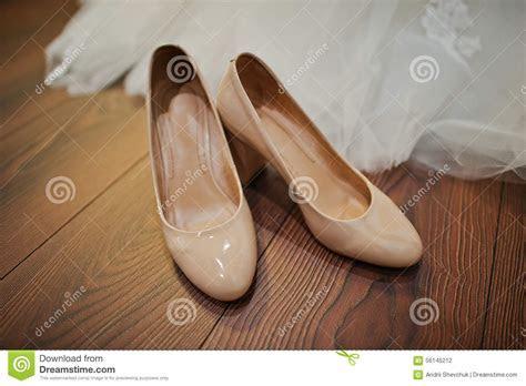 Cream Colour Wedding Shoes Stock Photo   Image: 56145212