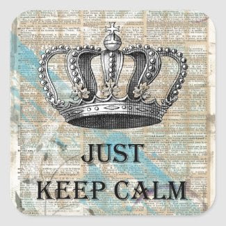 Just Keep Calm Vintage Abstract Art Grunge Design Square Sticker