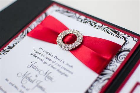 Bling & Satin Wedding Invitation in Matte Poppy Red, Black
