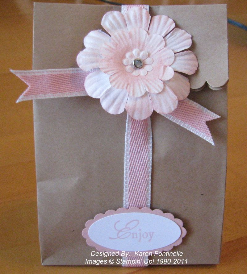 Paper Daisy Brown Paper Gift Bag Stamping With Karen