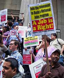 Demonstration in New York protest the lack of benefits for the longterm unemployed in the United States.The filing for unemployment benefits rose to 500,000 in one week during early August 2010. by Pan-African News Wire File Photos