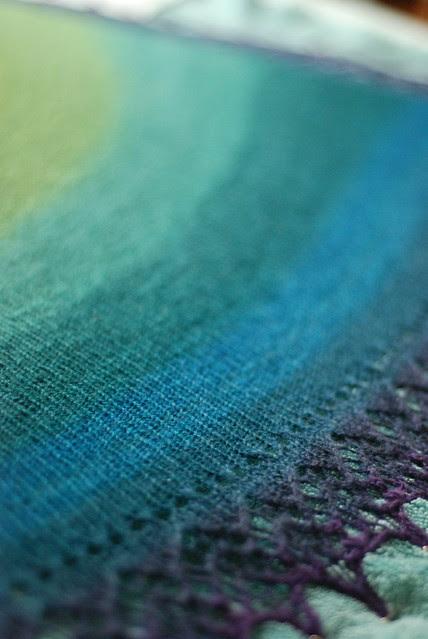 Handspun gradient dyed merino silk lace shawl LazyKaty taken on Nikon D80 dslr camera