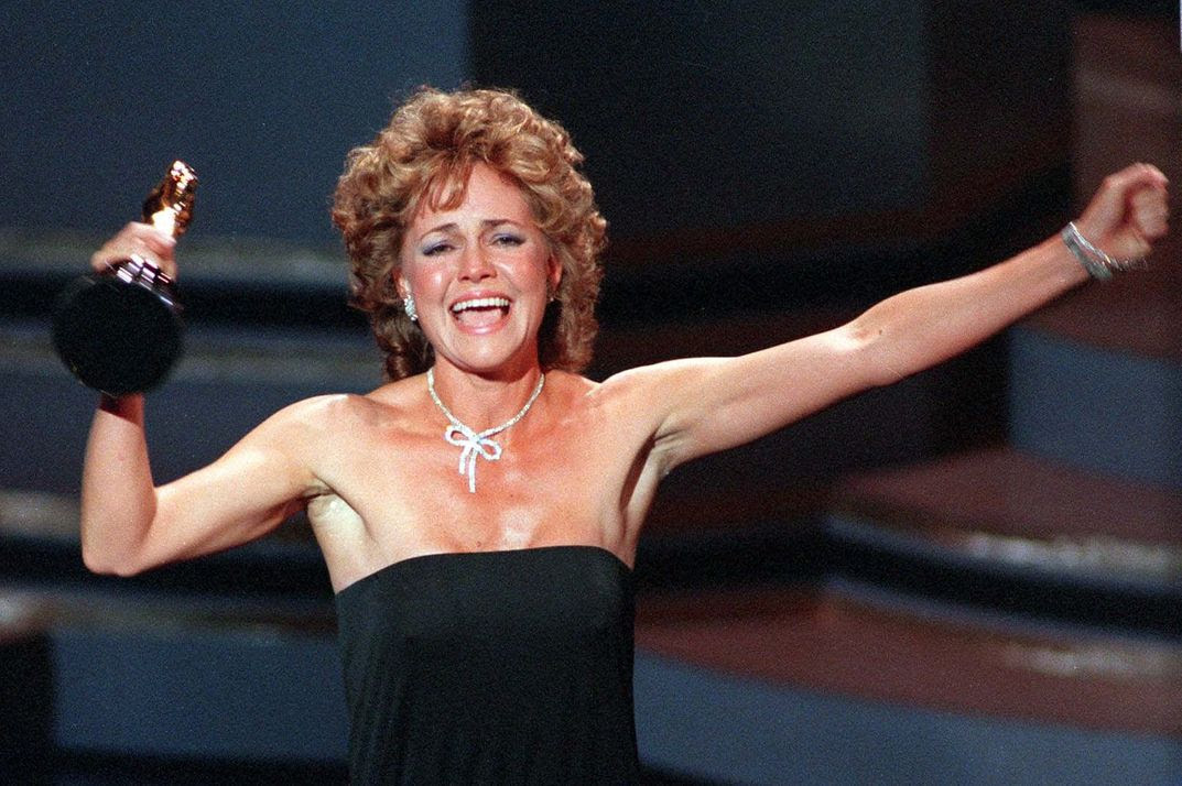 "Actress Sally Field accepts her Academy Award for best actress in the film ""Places in the Heart"" at the Oscar ceremonies in Los Angeles March 26, 1985. ""I can't deny the fact you like me, "" she said in her acceptance speech, ""Right now, you like me."""