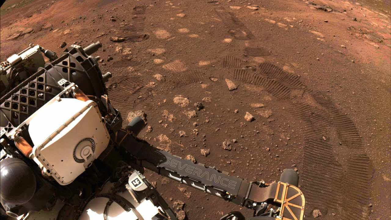 Taken during the first drive of NASA's Perseverance rover on Mars on 4 March 2021. Image Credit: NASA/JPL-Caltech