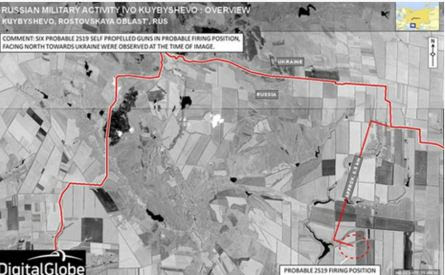 Καλύτερη άποψη των θέσεων των αυτοπροωθούμενων ρωσικών όπλων στόχευση προς βορρά, είναι σαφές ότι από αυτήν την τοποθεσία είναι αδύνατον να μην χτυπήσουν εντός του ουκρανικού εδάφους. Δεν πρόκειται γιά άσκηση , υποστηρίζουν τις αυτονομιστικές δυνάμεις που επιχειρούν στο ουκρανικό έδαφος.