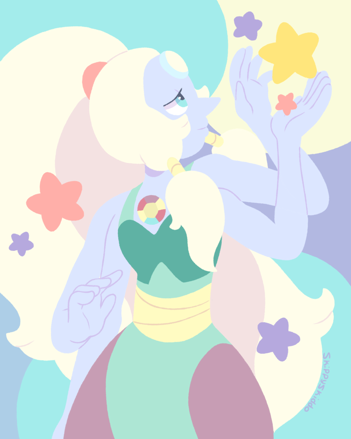 First lineless drawing and it's of beautiful Opal!