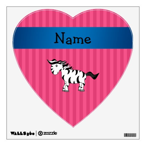 Personalized name zebra pink stripes wall decor from Zazzle.