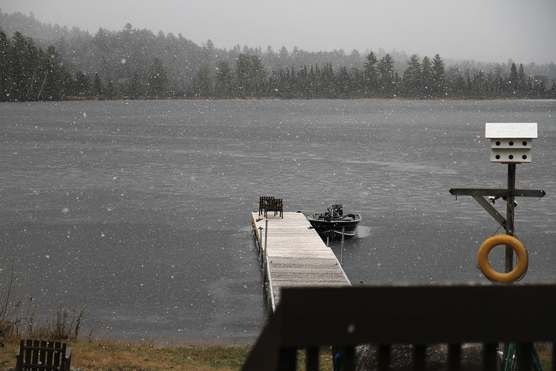 snowy iced in boat